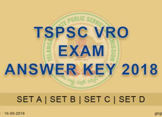 TSPSC VRO Exam Answer Key Released 2018
