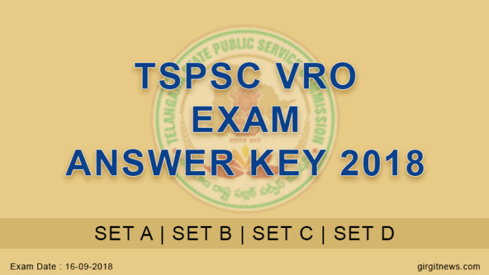 TSPSC VRO Exam Answer Key Released 2018