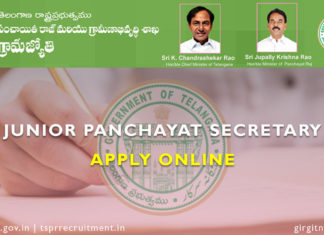 Telanagana Junior Panchayat Secretary apply online 2018