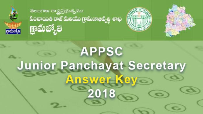 Telangana Junior Panchayat Secretary Answer Key Released 2018